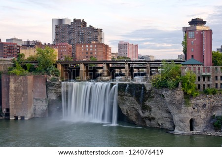 High Waterfalls - City of Rochester - stock photo