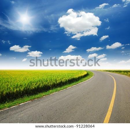 High way yellow grass green destination travel - stock photo