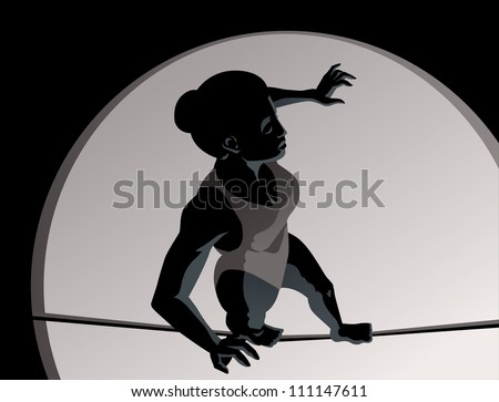 High wire girl - stock photo