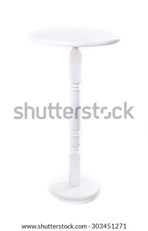 High wooden Top Table on white background - stock photo