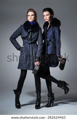 high Young fashion two girl wearing elegant clothes on gray background  - stock photo