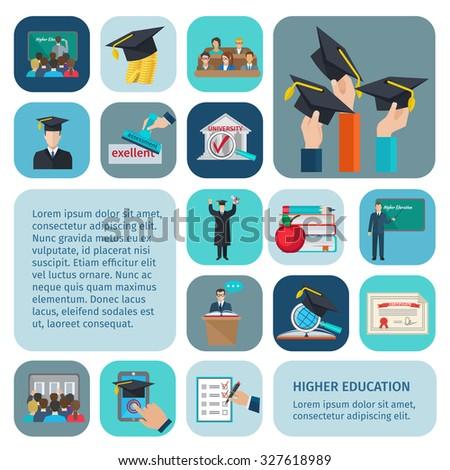 Higher education icons flat set with examination and learning symbols isolated  illustration - stock photo