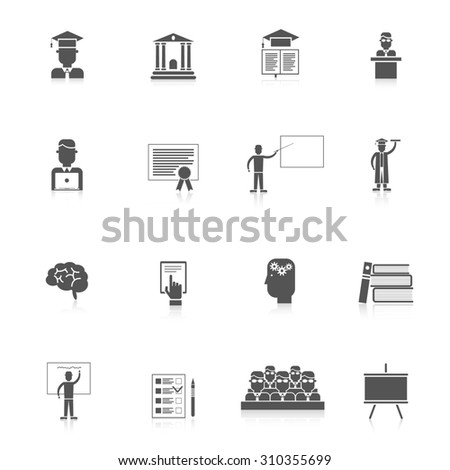 Higher education students college lectures icon black set isolated  illustration