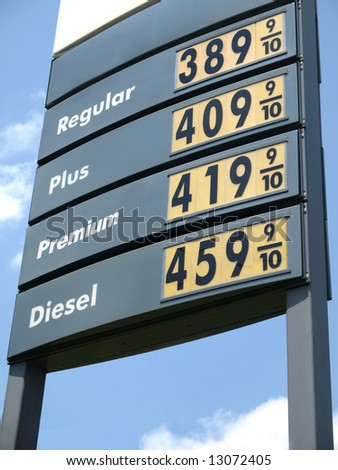 Higher Price Gas Station Sign - stock photo