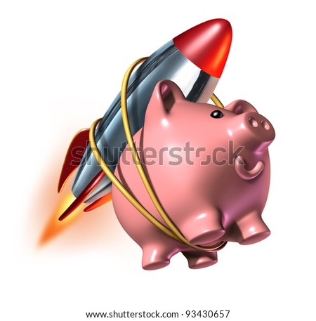 Higher savings account piggy bank with a rocket strapped on to its back as a fast rising - Rocket piggy bank ...