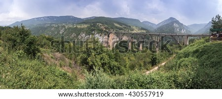 highest bridge in the mountains of Montenegro - stock photo