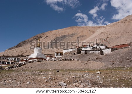 highest buddha temple on the earth - at the sholder of mount everest - stock photo