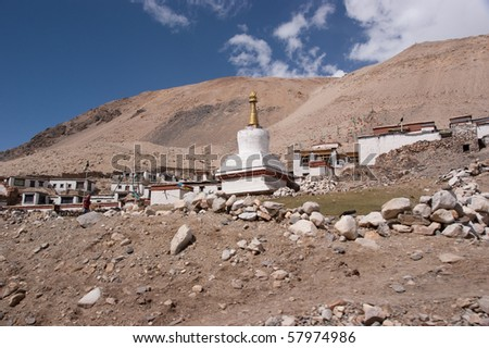 highest buddha temple on the earth - at the shoulder of mount everest - stock photo