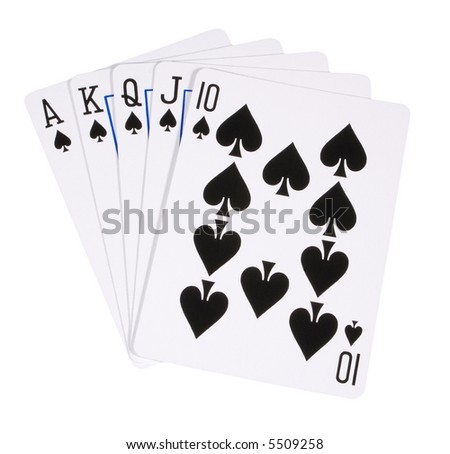 Highest hand in poker, royal flush of spades