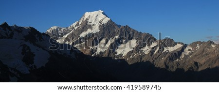 Highest mountain in New Zealand. Mount Cook. Evening scene near Mueller hut, Sealy Tarns Track. - stock photo