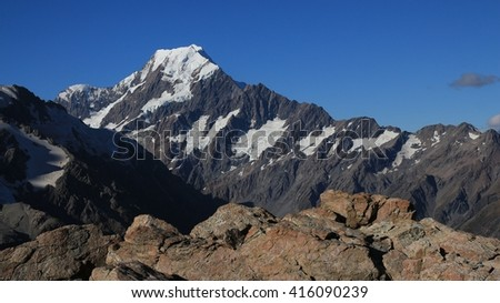 Highest mountain in New Zealand. Mt Cook. - stock photo