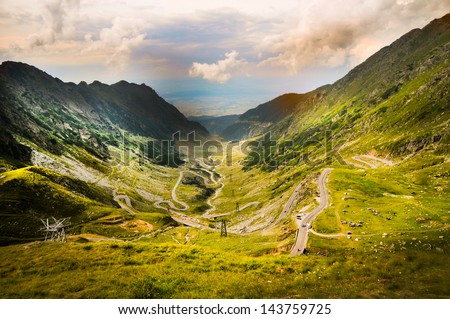 HIGHEST MOUNTAIN ROAD MYSTIC BACKGROUND - stock photo