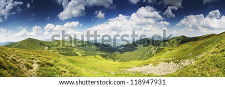 Highest Ukrainian mountain ridges panorama. Chornogora ridge - stock photo