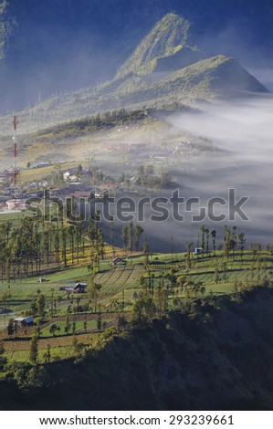 Highland Cemoro Lawang village in Bromo Tengger Semeru National Park, East Java, Indonesia - stock photo