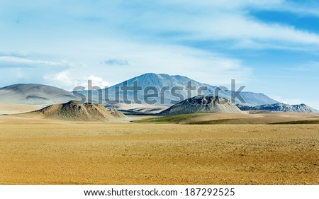 Highland desert plateau Altiplano, Bolivia - stock photo