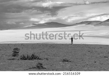 Highland desert plateau Altiplano, Bolivia (black and white) - stock photo