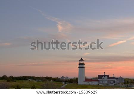 Highland lighthouse in Truro, Cape Cod, Massachusetts, USA at sunset - stock photo