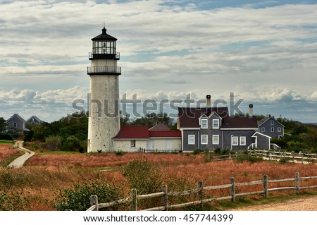 Highland Lighthouse, oldest and tallest on Cape Cod, built in 1797, North Truro, Massachusetts, USA.  - stock photo