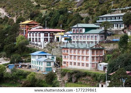 Highland village Namche Bazar in Khumbu region, Nepal - stock photo