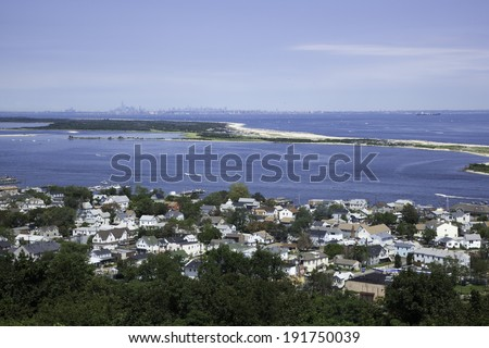 HIGHLANDS, NJ - AUGUST 11:  A view from the Twin Lights in the Atlantic Highlands, overlooking the Highlands and Sandy Hook, New Jersey. Photo taken August 11, 2013. - stock photo