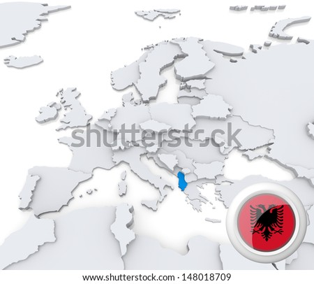 Highlighted Albania on map of europe with national flag - stock photo