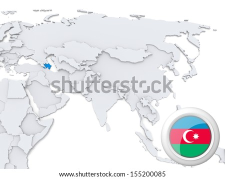 Highlighted Azerbaijan on map of Asia with national flag - stock photo