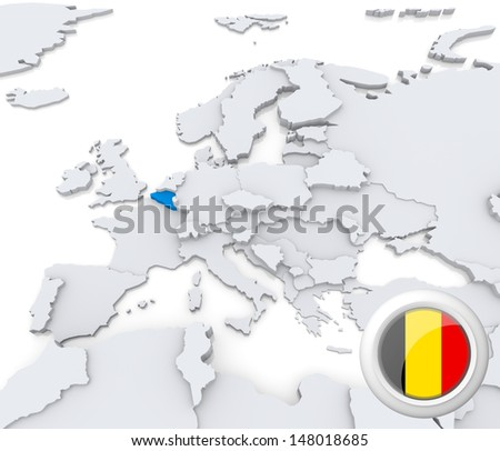 Highlighted Belgium on map of europe with national flag - stock photo