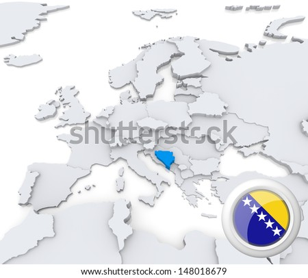 Highlighted Bosnia and Herzegovina on map of europe with national flag - stock photo
