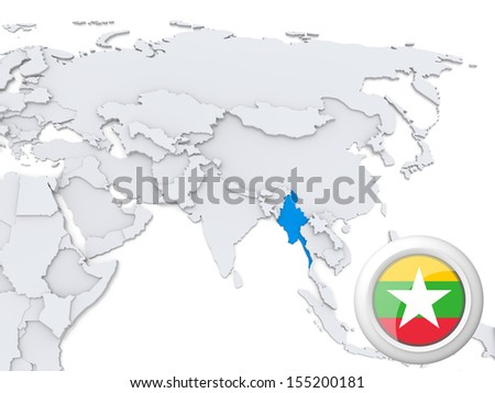 Highlighted Burma on map of Asia with national flag - stock photo