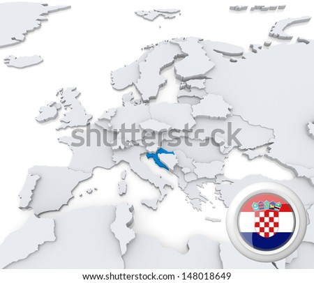 Highlighted Croatia on map of europe with national flag - stock photo