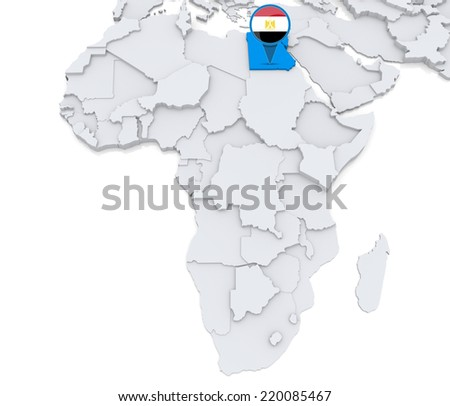 Highlighted egypt on map africa national stock illustration highlighted egypt on map of africa with national flag gumiabroncs Image collections
