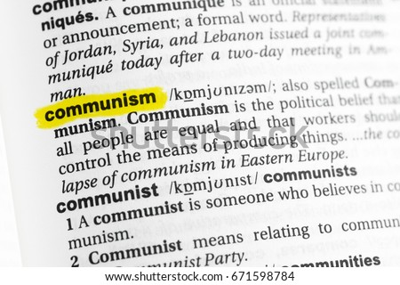 highlighted english word communism definition dictionary stock photo