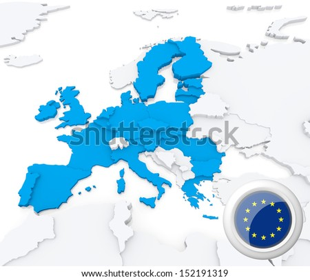 Highlighted European union on map of europe with national flag - stock photo