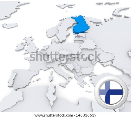 Highlighted Finland on map of europe with national flag - stock photo