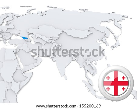 Highlighted Georgia on map of Asia with national flag - stock photo