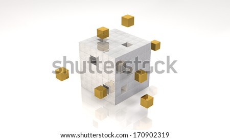 Highlighted Gold Cubes in Cube Structure (with clipping path) - stock photo