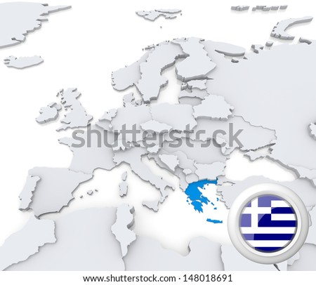 Highlighted Greece on map of europe with national flag - stock photo
