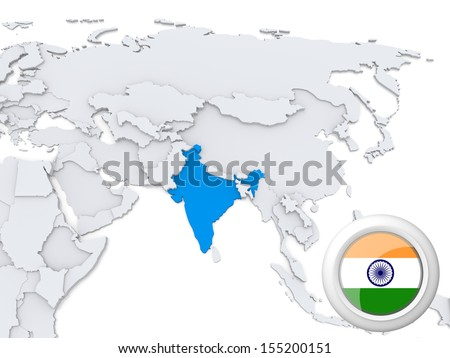 Highlighted India on map of Asia with national flag - stock photo