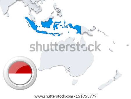 Highlighted Indonesia on map of Australia and oceania with national flag - stock photo