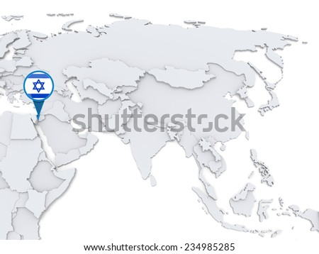 Highlighted Israel on map of Asia with national flag - stock photo