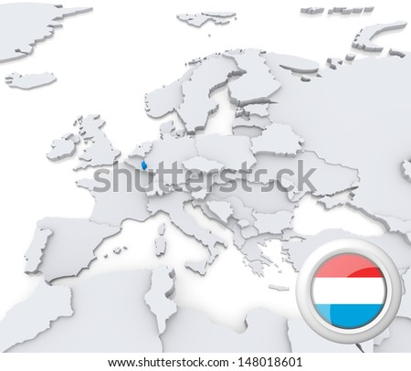 Highlighted Luxembourg on map of europe with national flag - stock photo