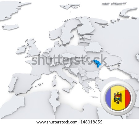 Highlighted Moldova on map of europe with national flag - stock photo