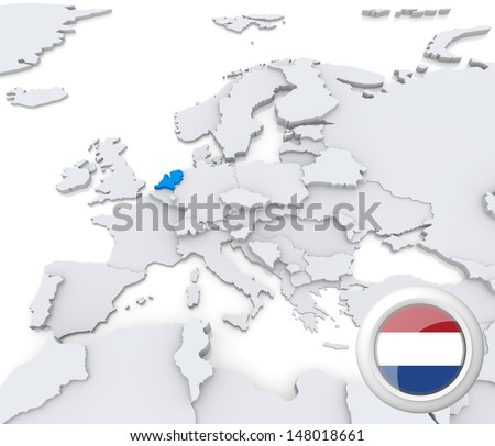 Highlighted Netherlands on map of europe with national flag - stock photo