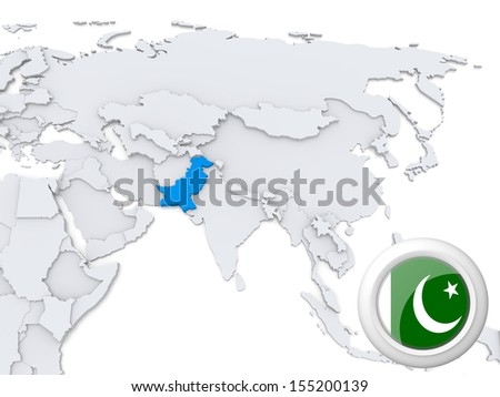 Highlighted Pakistan on map of Asia with national flag - stock photo