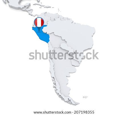 Highlighted Peru on map of south america with national flag