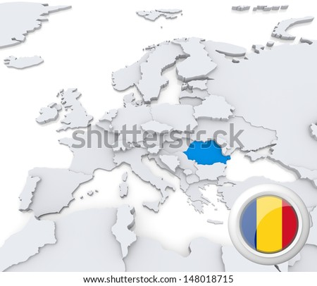 Highlighted Romania on map of europe with national flag - stock photo