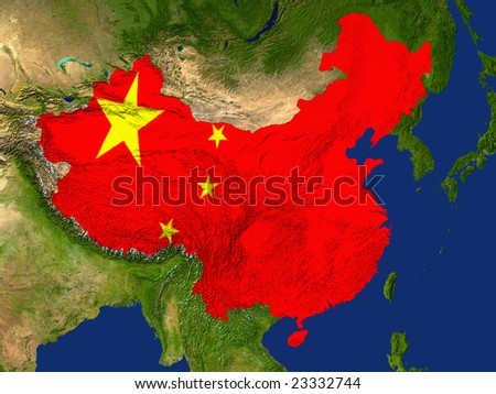 Highlighted Satellite Image Of China With The Countries Flag Covering It