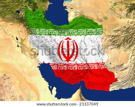 Highlighted Satellite Image Of Iran With The Countries Flag Covering It - stock photo
