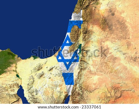 Highlighted Satellite Image Of Israel With The Countries Flag Covering It - stock photo