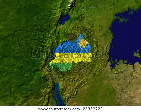 Highlighted Satellite Image Of Rwanda With The Countries Flag Covering It - stock photo